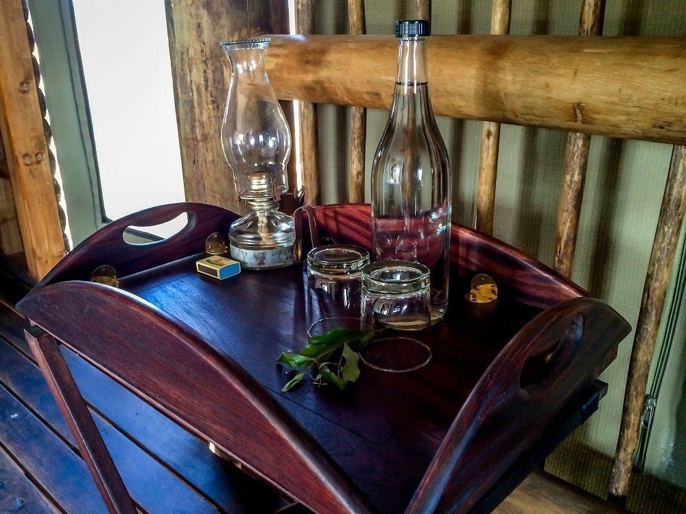 The chalets at nThambo Tree Camp have oil lamps to set an evening mood.