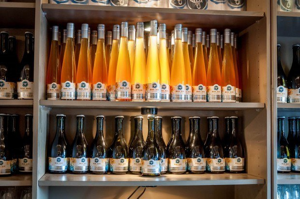 Bottles of cider at the Blue Bee Cider in Richmond, Virginia.  While it is technically not a beer, it's still a highlight on Richmond brewery tours.