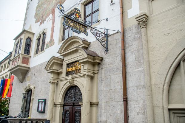 Across Germany, Ratskeller restaurants can be found in the vaults beneath town hall buildings.  The Wurzburg Ratskeller is a beautiful example of these restaurants.