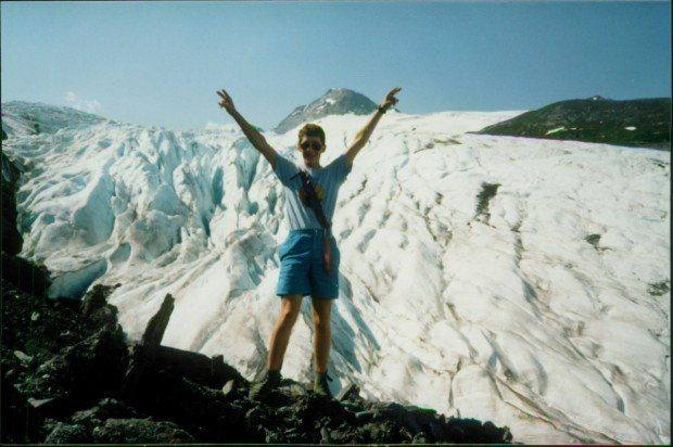 Rock climbing along a glacier during a family vacation