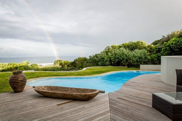 The Garden Lodge pool at the Grootbos Private Nature Reserve on Walker Bay in the Western Cape. The resort is very close to Gansbaai South Africa.