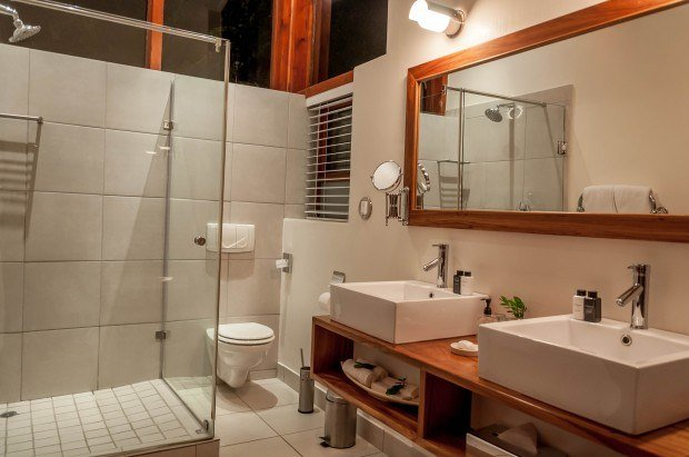 The bathroom in the luxury suites at the Grootbos Garden Lodge in the nature reserve.
