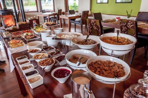 The breakfast at the Garden Restaurant in the Grootbos Private Nature Reserve features a muesli bar and hot items cooked to order.