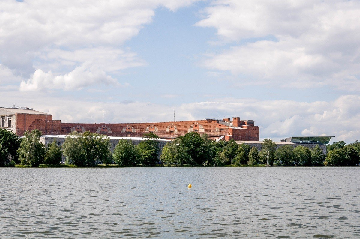 The Nazi Party Congress Hall (Kongresshalle) in Nuremberg, viewed across the lake (Dutzendteich).  This location is the center of the Nuremberg Nazi Party Rally Grounds.