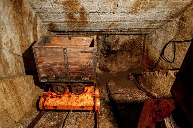 An ore cart inside the Bartolomej mine at the Slovak Mining Museum Banska Stiavnica.