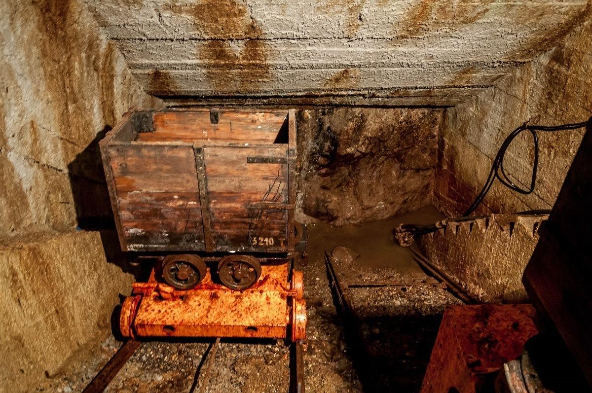 An ore cart inside the Bartolomej mine at the Slovak Mining Museum Banska Stiavnica.