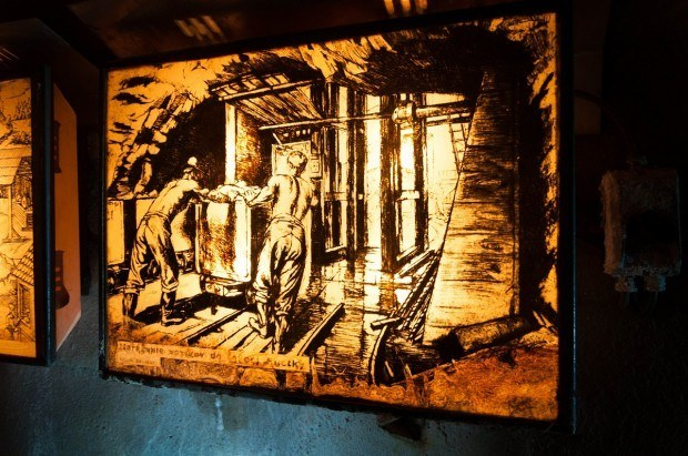 Educational panels inside the mine at the Open-Air Mining Museum Banska Stiavnica.