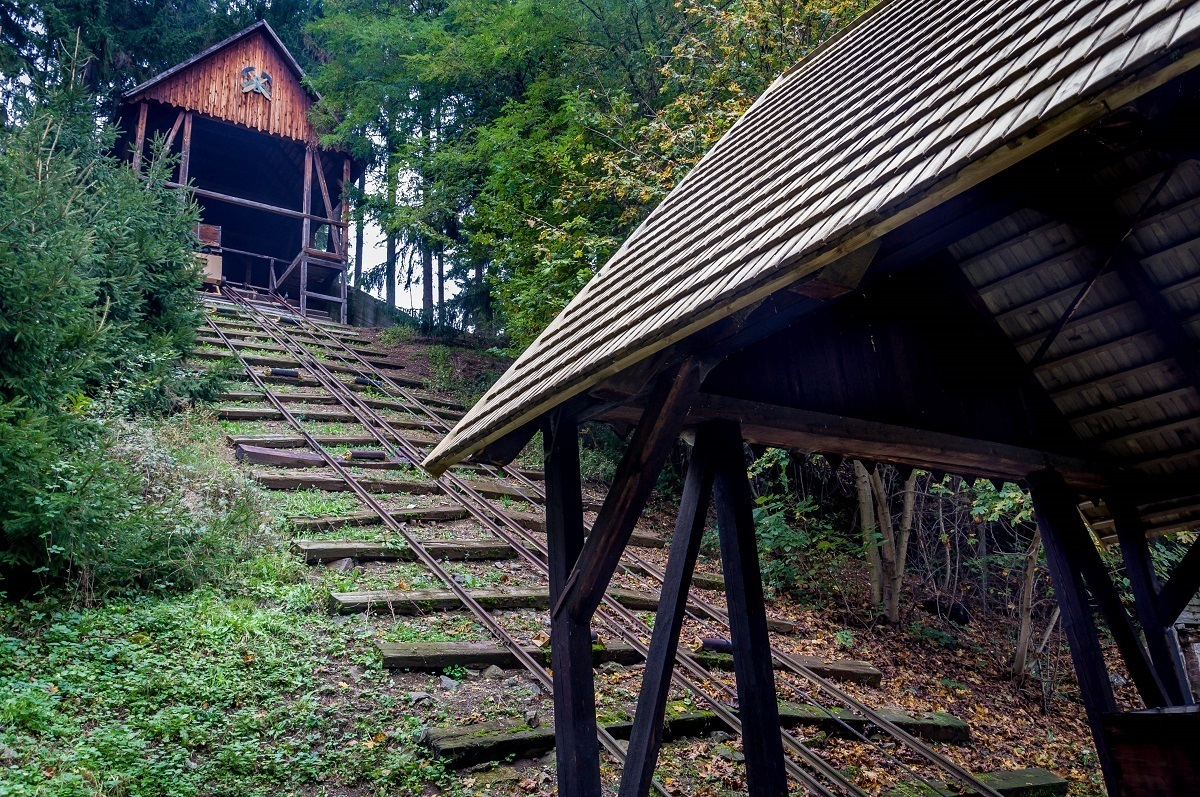 The tracks for the ore carts to bring silver out of the mines at the Open-Air Mining Museum Banska Stiavnica in Slovakia.