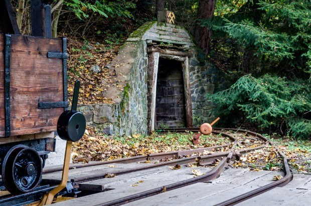 An ore cart and tracks at the Slovak Mining Museum in Banska Stiavnica.  This museum is the most important of all the Banska Stiavnica attractions because it is the core of the UNESCO World Heritage Site here.