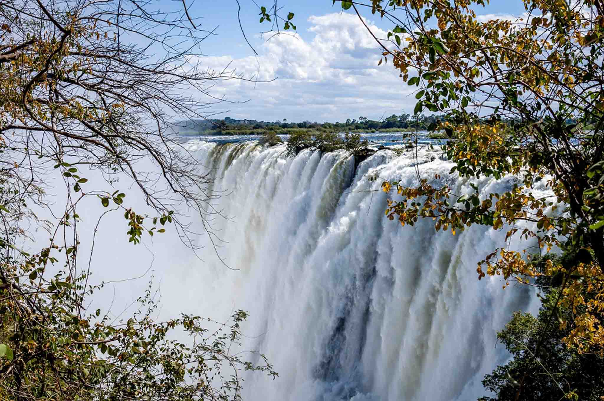 Huge water flow at Victoria Falls in Zambia