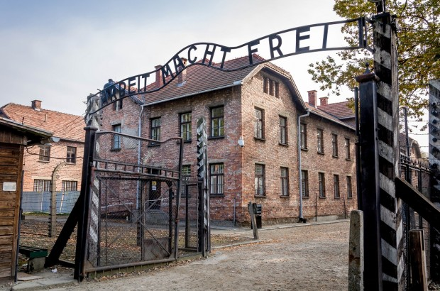 The Arbeit Macht Frei Gate at the Auschwitz Concentration Camp and Death Camp in Poland.