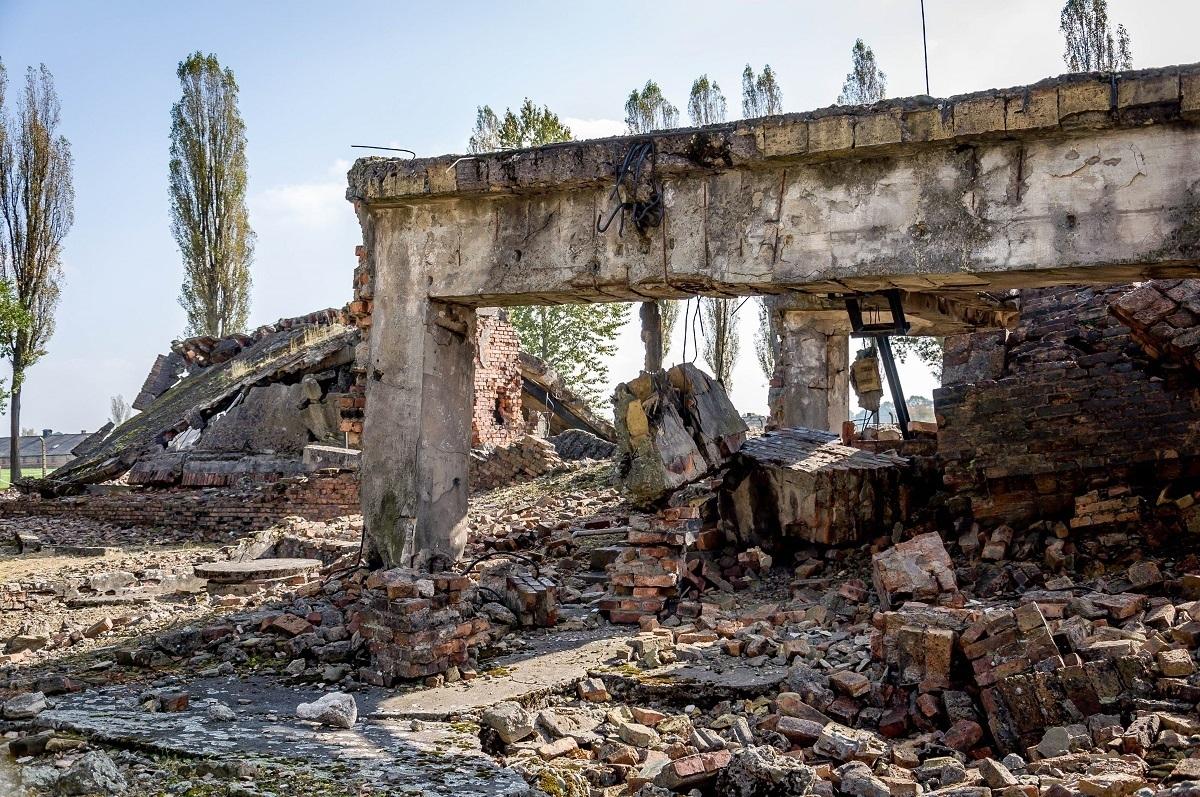 Ruins of the crematorium destroyed by the fleeing Germans at Auschwitz