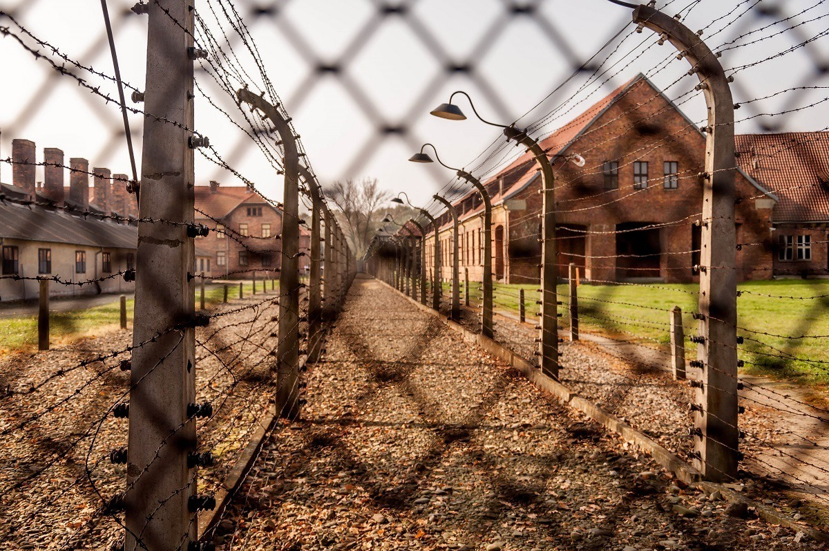 The double fence at the Auschwitz concentration and death camp