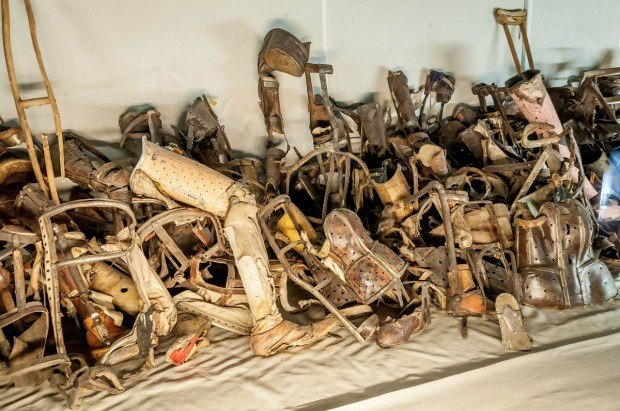 Prosthetic limbs and other medical supplies taken from their deceased owners at the Auschwitz death camp.