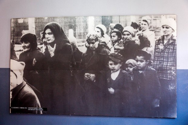 Women and children after sorting - selected to receive the gas chamber.  This photo is in the museum on the Auschwitz concentration camp tour.