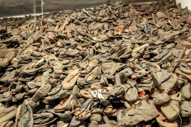 Shoes, mostly children's shoes, on the Auschwitz concentration camp tour.