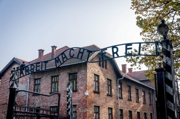 The Arbeit Macht Frei gate on the Auschwitz concentration camp tour.