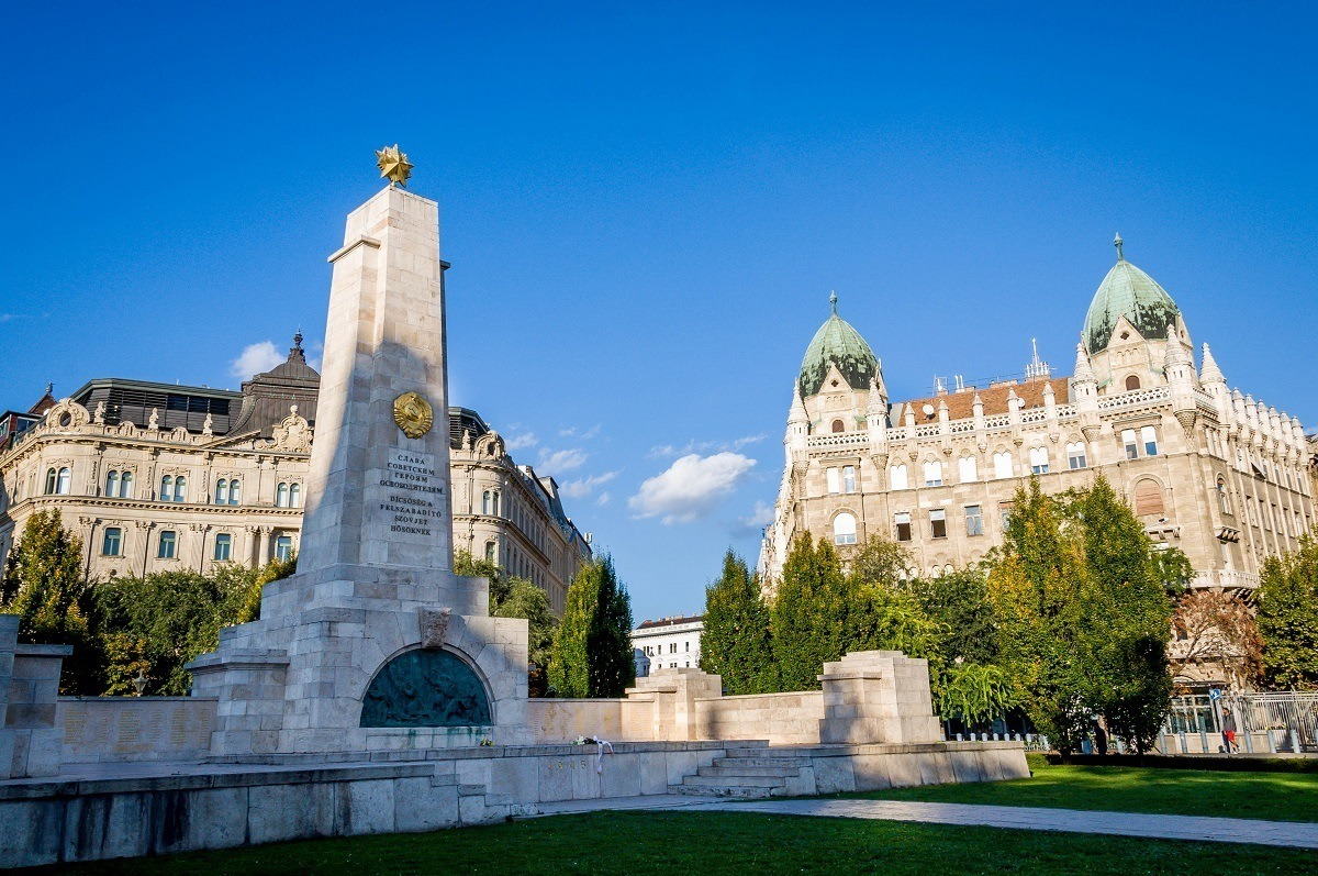 The Soviet monument of occupation in Budapest with the U.S. Embassy visible in the background.  This was an important site on the Hammer and Sickle Tour Budapest.