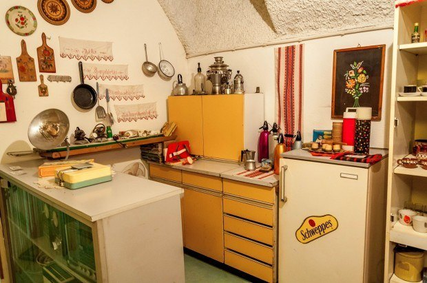 The kitchen in a communist-era apartment on a Hammer and Sickle Tour of Budapest communist sites.