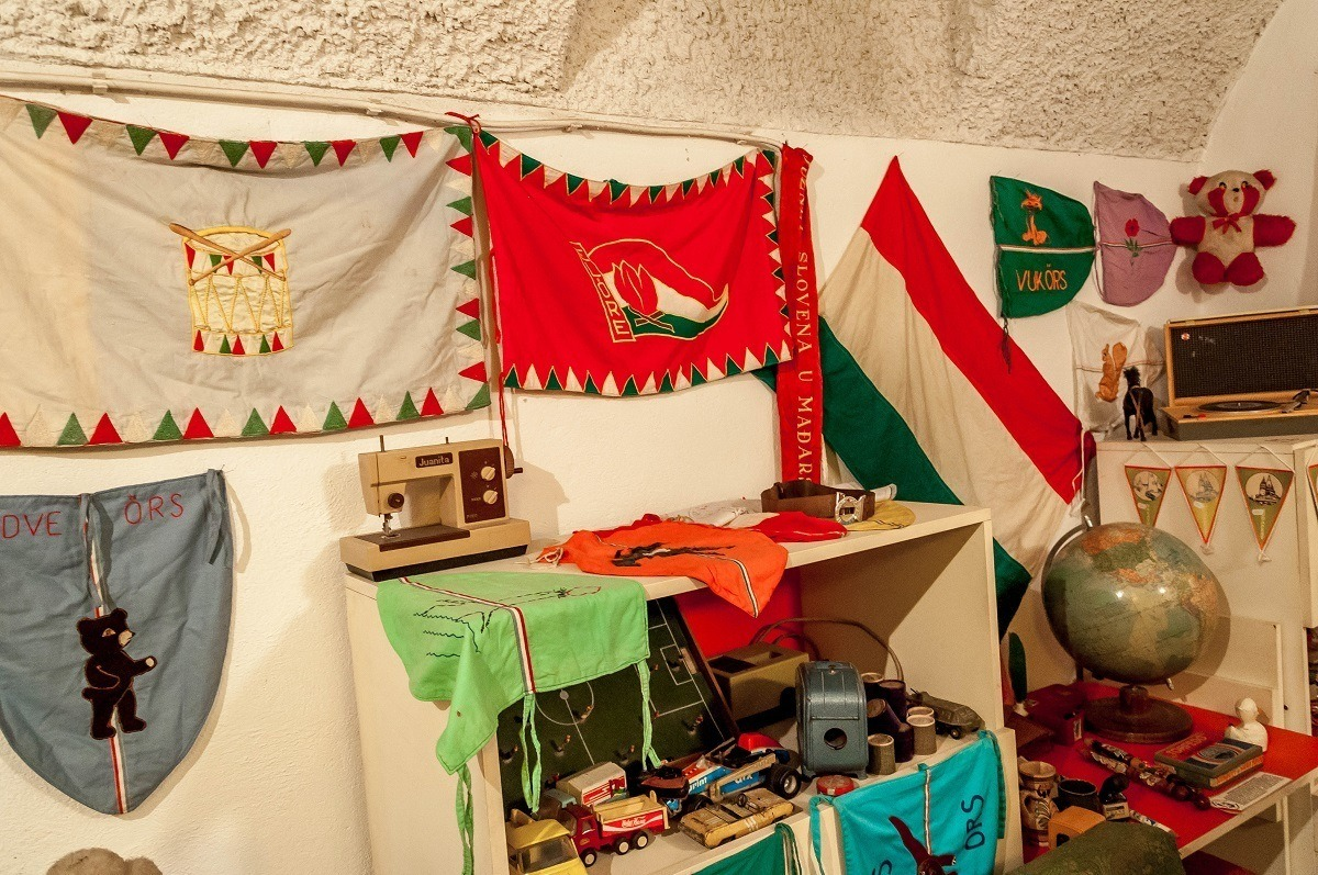 The flags of Hungarian communist youth organizations in a child's room