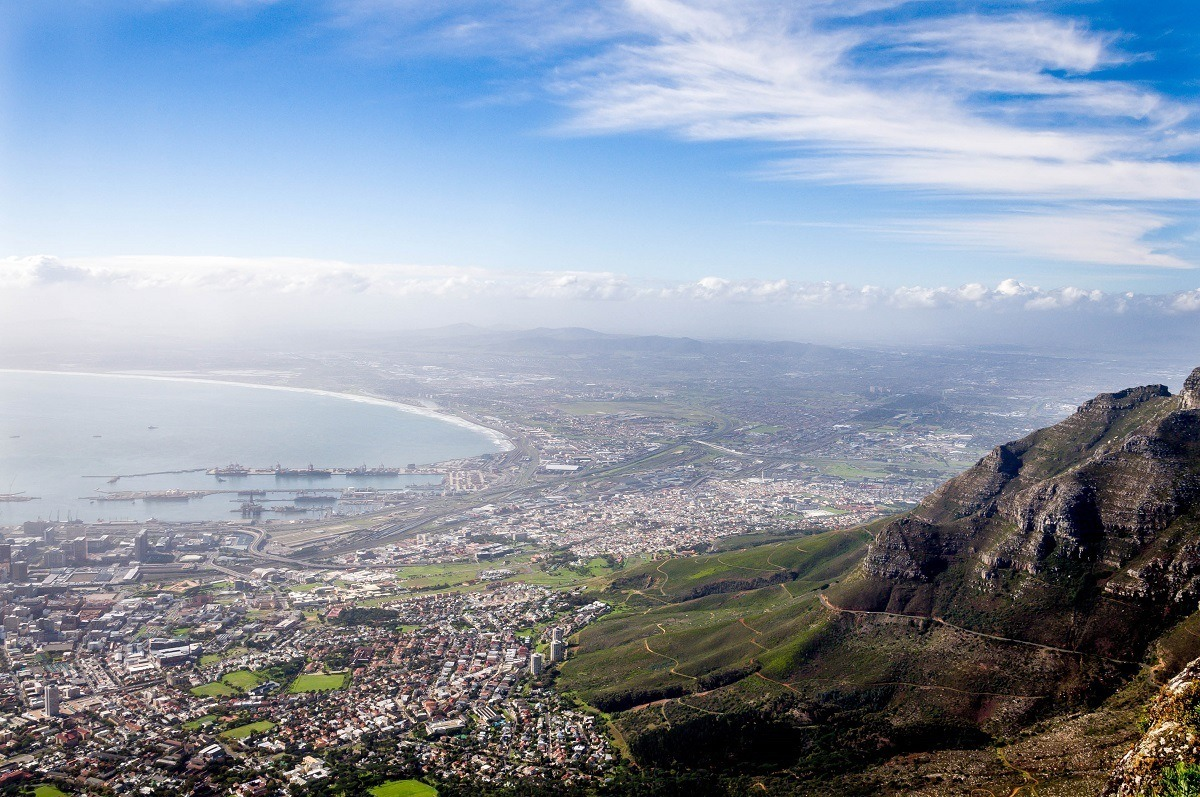 View of Cape Town and bay from above