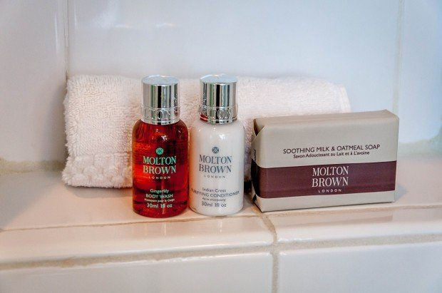The bathroom amenities at Keswick Hall at Monticello.