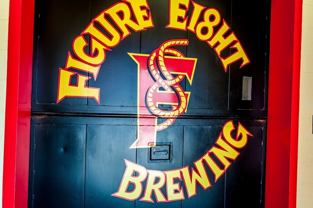 Figure Eight Brewing sign on the South Shore Brewery Trail in Valparaiso.  They serve some of the best food of all the Northwest Indiana breweries.