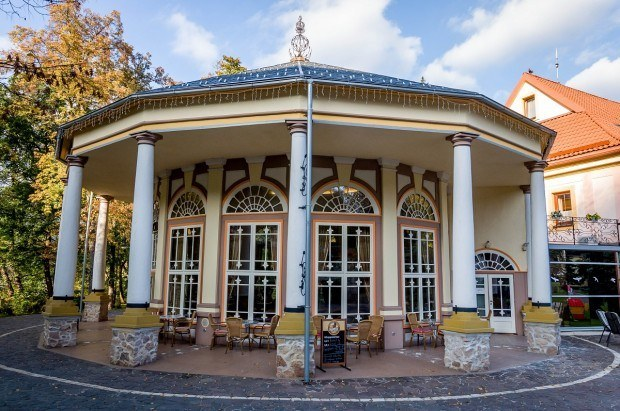 The art nouveau Kursalon and cafe at the Kupele Sklene Teplice Spa Slovakia.