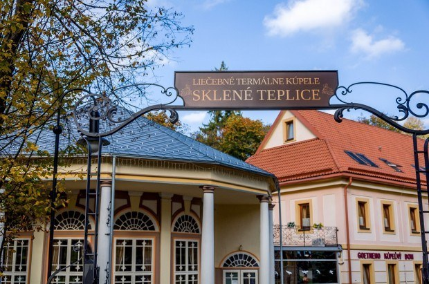 The entrance to the Kúpele Sklené Teplice Thermal Spa in Slovakia.