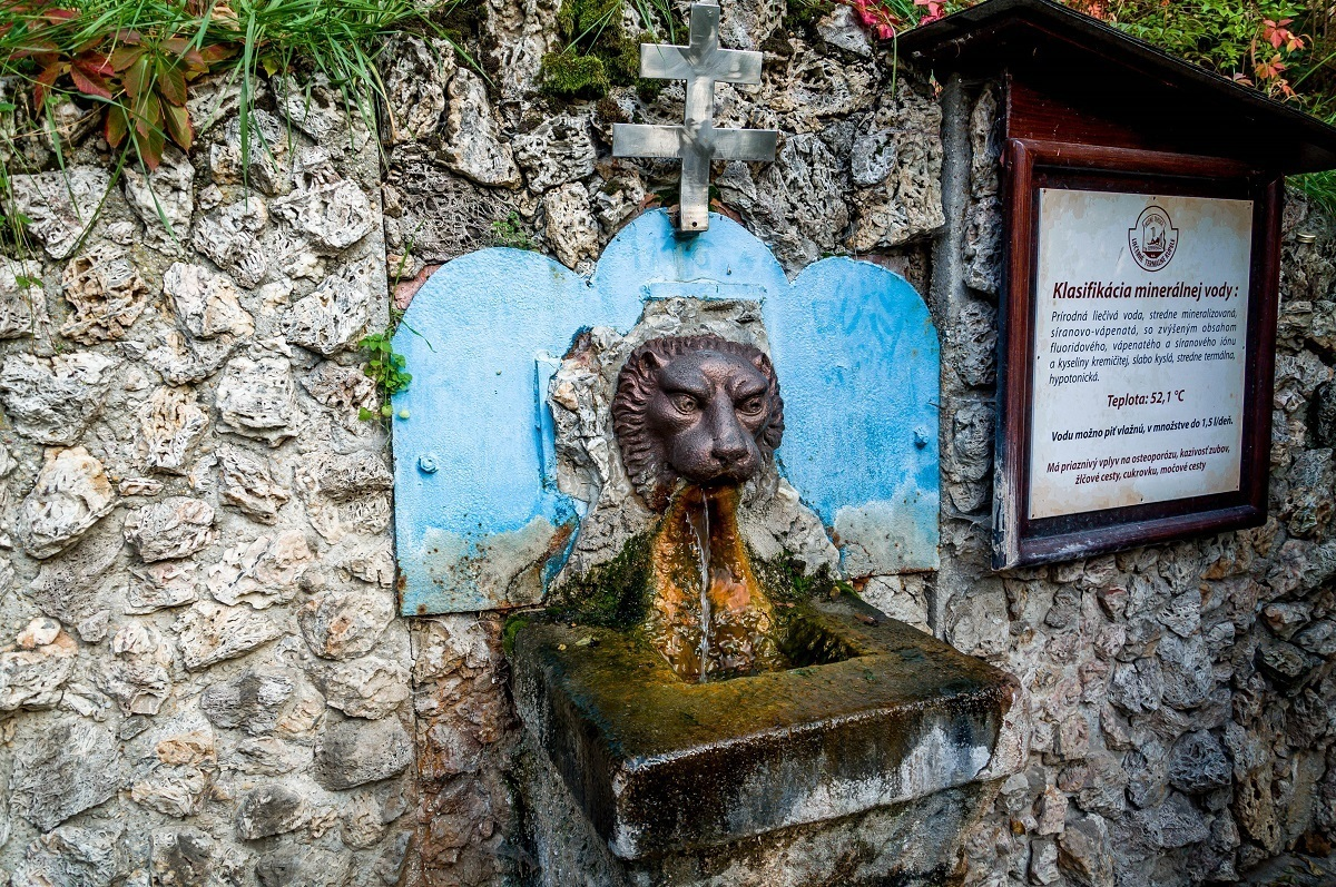 The lion's head fountain at Sklene Teplice where visitors drink the warm mineral waters for health.