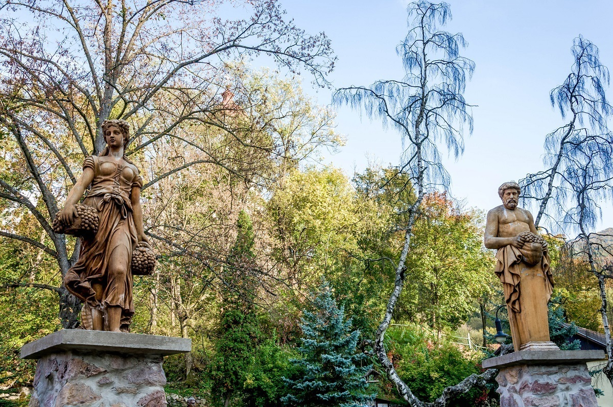 Statues in the sculpture garden at the Kupele Sklene Teplice Spa Slovakia.