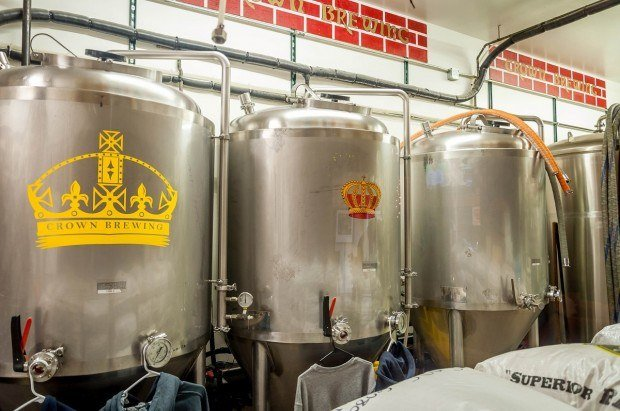 The fermentation tanks at Crown Brewery - one of the most popular Northwest Indiana breweries on the South Shore Brewery Trail.