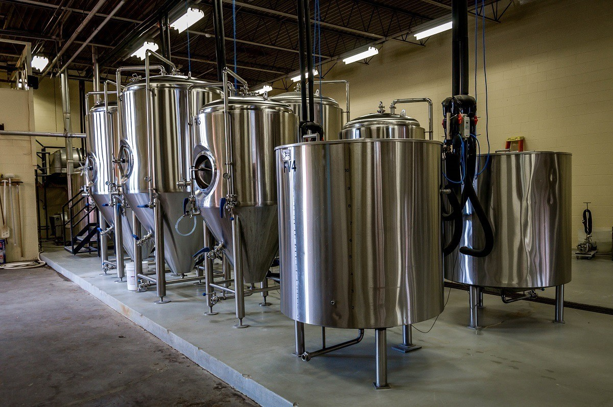 Fermentation tanks at Figure Eight Brewery in Valparaiso, a popular destination on the South Shore Brewery Trail.