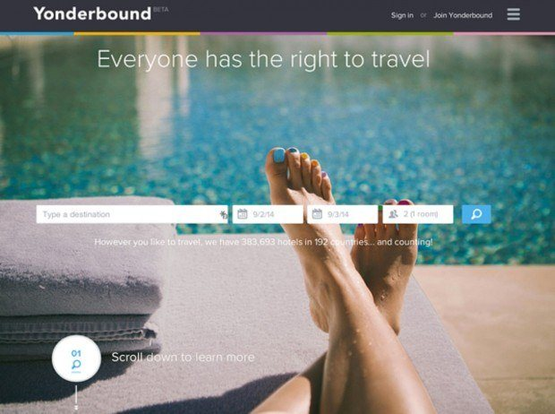 The Yonderbound travel booking website.