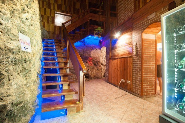 The entry into the thermal cave spa in Sklene Teplice Kupele.