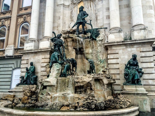 An elaborate fountain at the Budapest Castle.