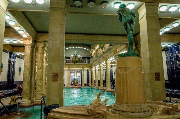 The indoor Gellert Baths in Budapest, Hungary.