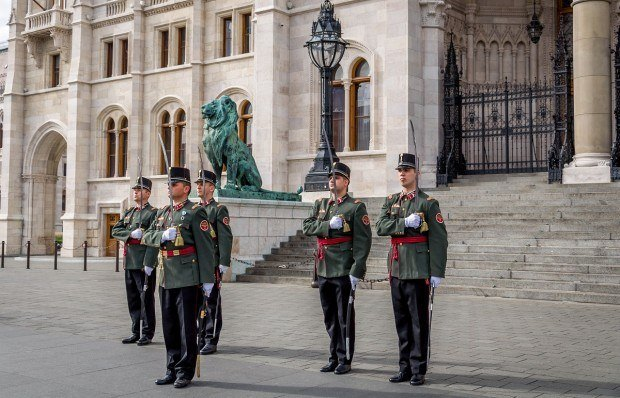 The changing of the guard at the Hungarian Parliament Building in Budapest.