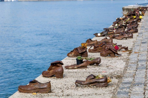 The Shoes on the Danube sculpture in Budapest, Hungary honoring the victims of the Holocaust.