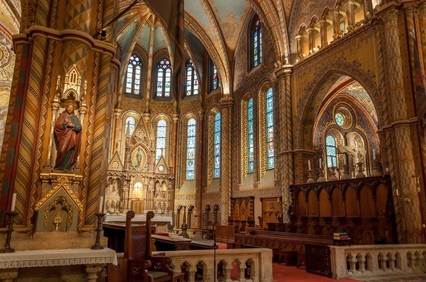 The ornate interior of the St. Matthias Church in Budapest, Hungary.