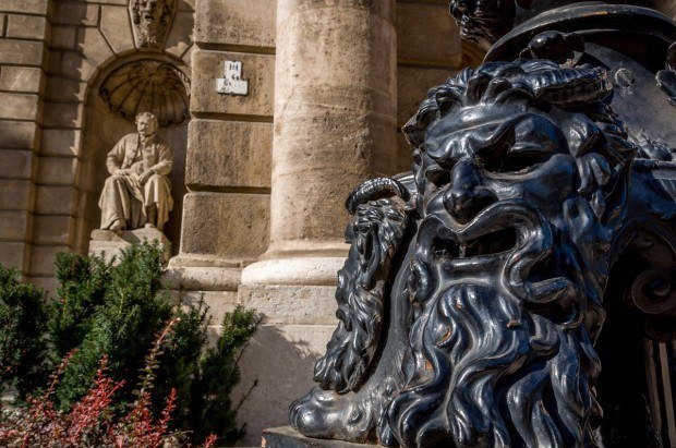 Statues outside the Hungarian State Opera in Budapest.