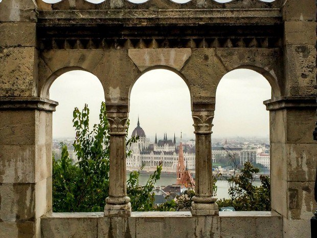 The Hungarian Parliament from the Fisherman's Bastion on the Castle Hill in Buda.  Castle Hill is a must for anyone visiting Budapest.