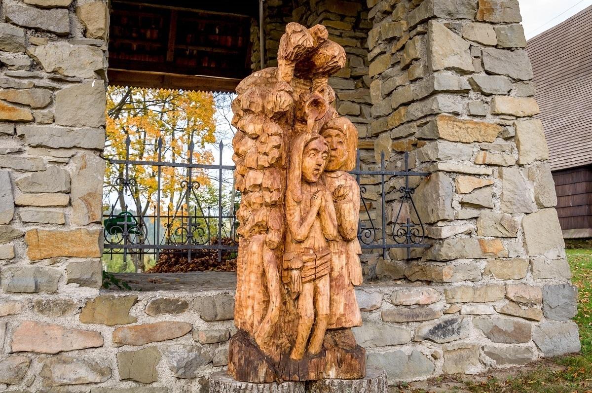 A modern sculpture at the Church of John the Baptist in Orawka, Poland.