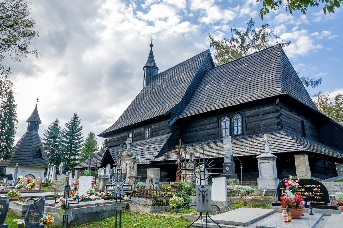 The Church of All Saints and the cemetery in Tvrdosin - one of the wooden churches in Slovakia.