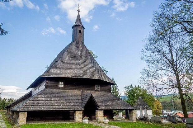 The Church of All Saints in Tvrdosin - one of the Slovakia Wooden Churches.  The wooden churches are an important Slovakia heritage site.