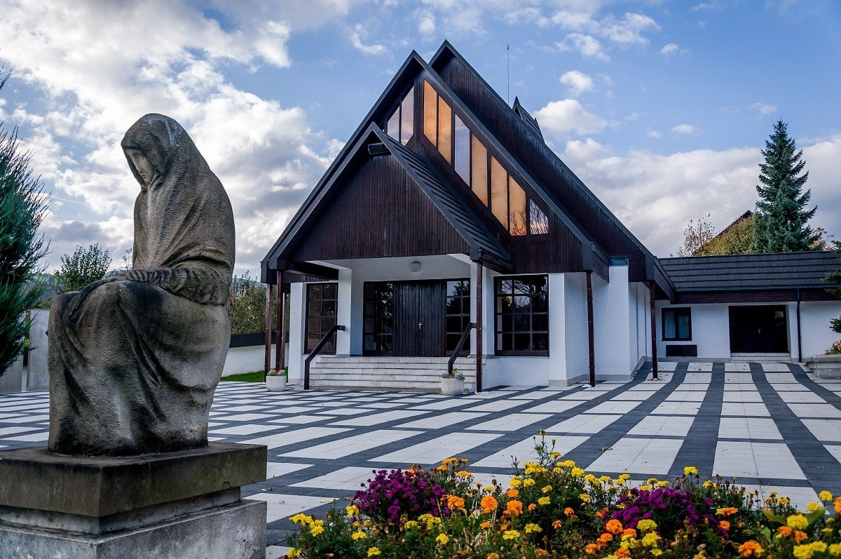 The modern Church of All Saints in Tvrdosin.  This was built in the architectural style of the original wooden church.