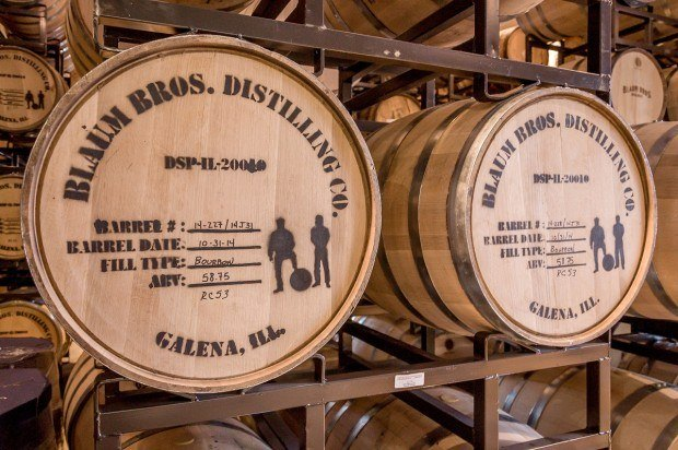American white oak barrels used for aging whiskey at Blaum Bros. Distillery in Galena, Illinois.