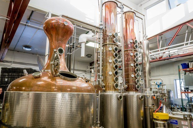 The copper stills at Blaum Brothers distillery.