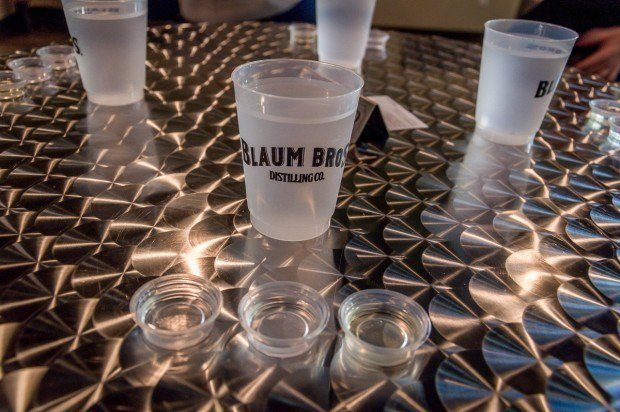 After a tour, visitors sample Blaum Brothers Vodka and Gin in the tasting room.