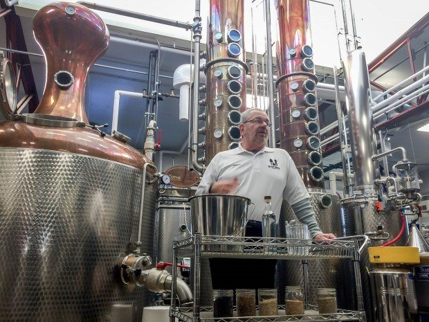 The tour guide at Blaum Bros. distillery explaining the ingredients in craft spirits.